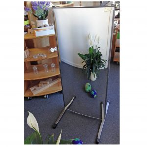 PLAY932 VERTICAL EASEL WITH MIRROR AND CLEAR PERSPEX BOARDS BY MAN MADE CREATIONS.