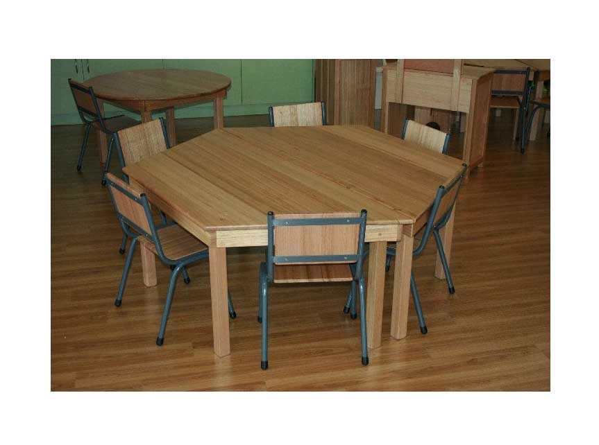 (2 X PICTURED)TC406 MAN Made Creations Australian Hardwood Trapezoid Tables with Metal Framed Chairs